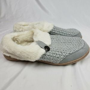 Lands End Knit Fuzzy Clog Slippers Grey Chenille